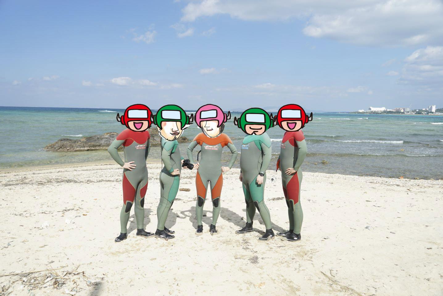マリブビーチのシュノーケル後に記念撮影