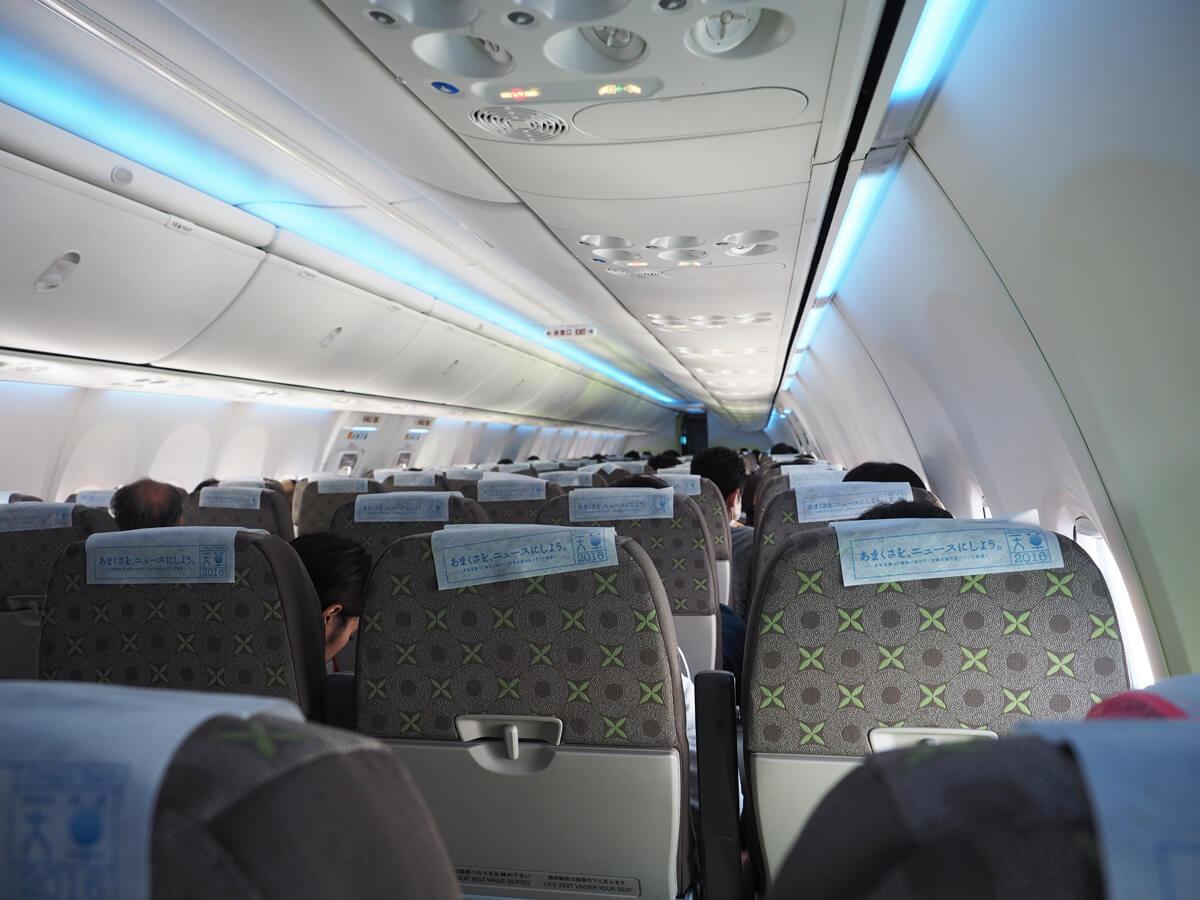 ソラシドエアの飛行機内