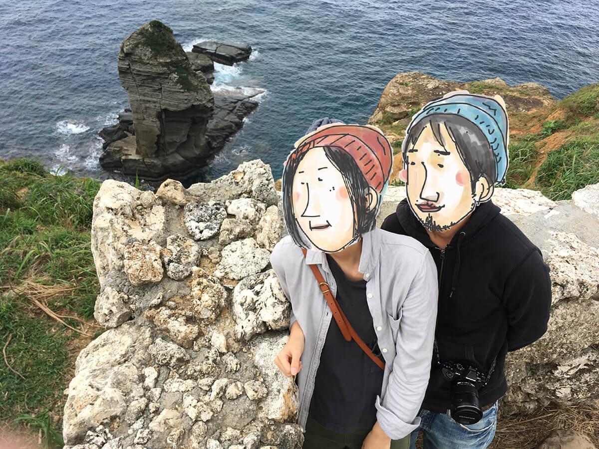 立神岩と記念撮影