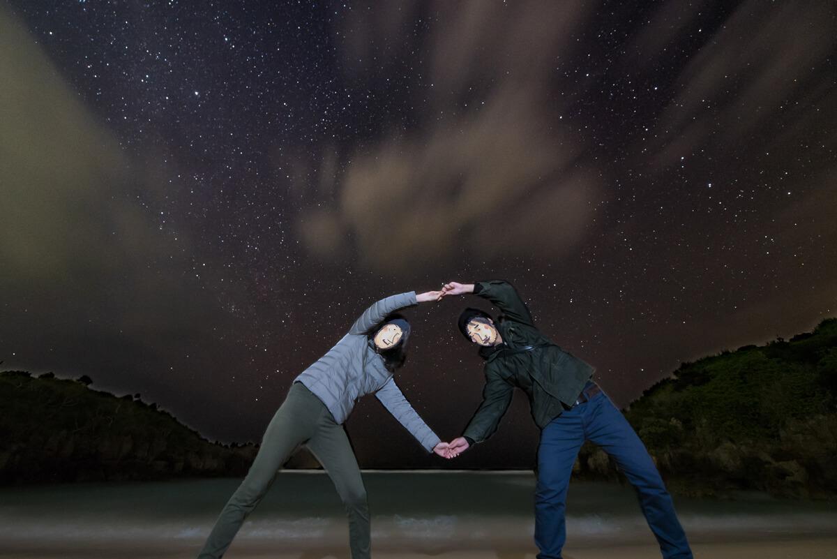 星空の下で大きなわ