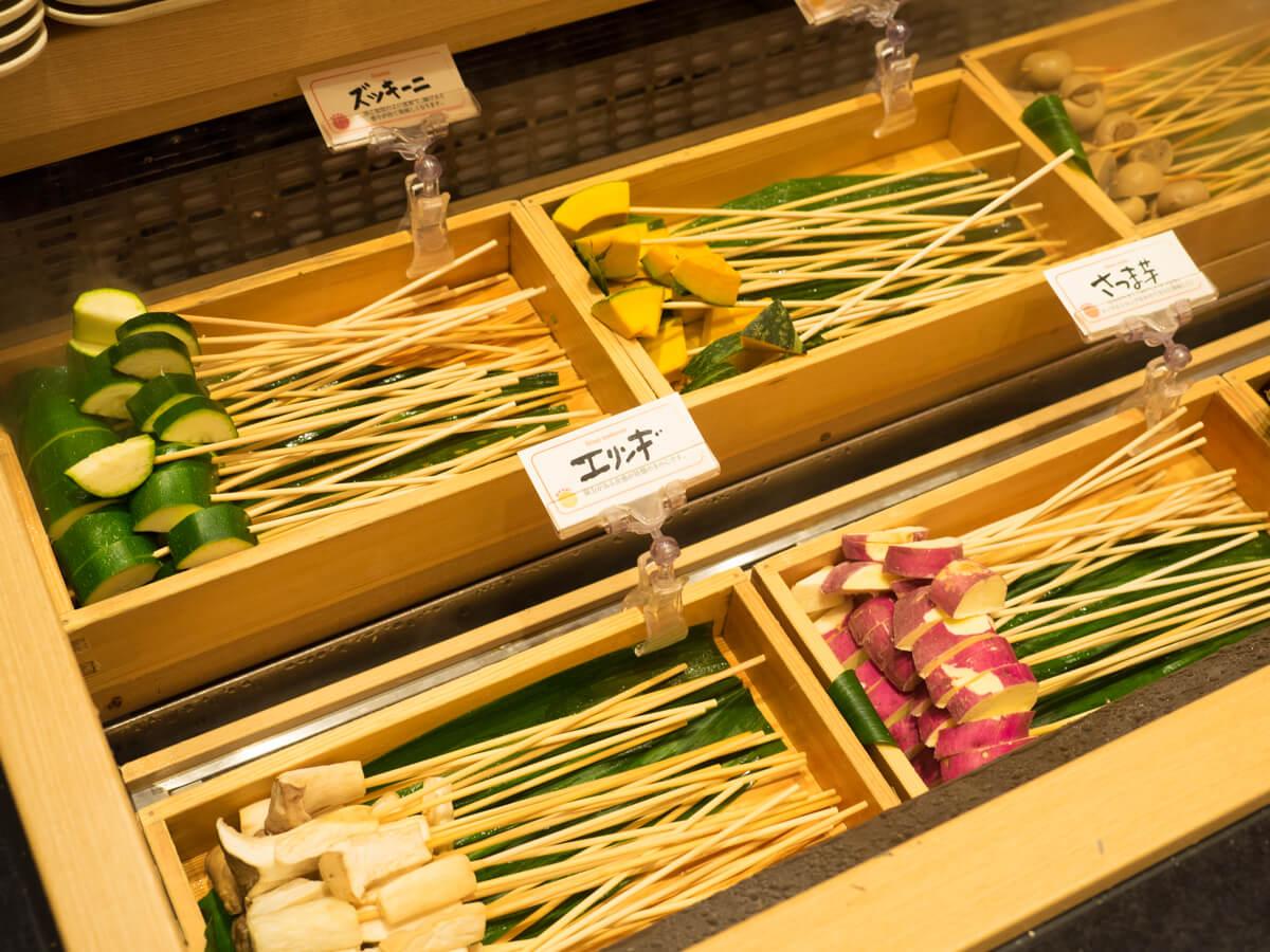 串カツの食材がたくさん